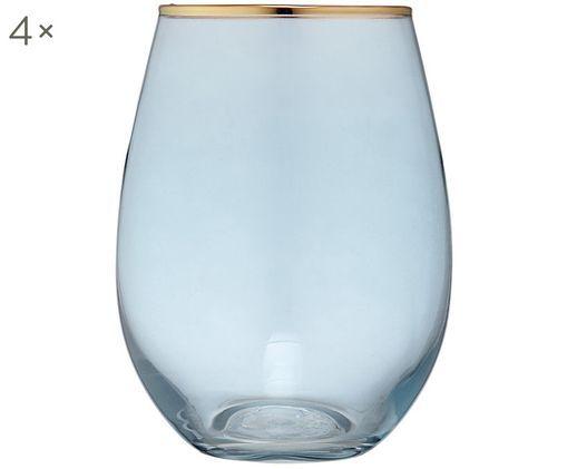 Szklanka do wody Chloe, 4 szt., Ciemny niebieski, odcienie złotego