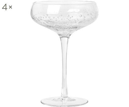 Coppe da champagne in vetro soffiato Bubble, 4 pz., Trasparente