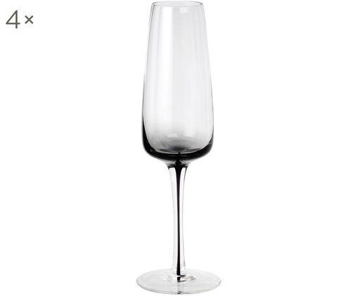 Flute da champagne in vetro soffiato Smoke, 4 pz., Trasparente con tinta grigia