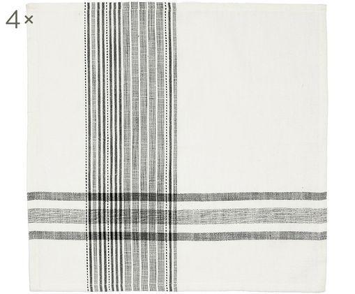 Tovagliette di stoffa  Sasel, 4 pz., Bianco, nero