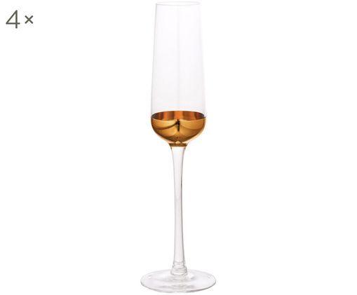 Set bicchieri da champagne, 4 pz., Dorato