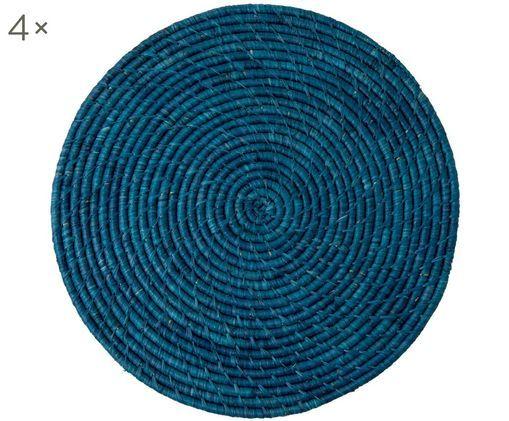 Set tovagliette Raffia, 4 pz., Blu scuro