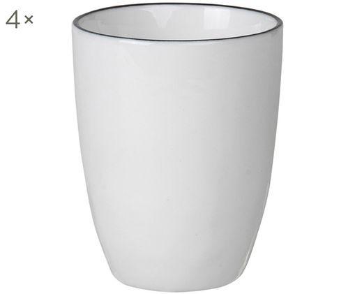 Tazze da caffè fatte a mano Salt, 4 pz., Bianco latteo, nero