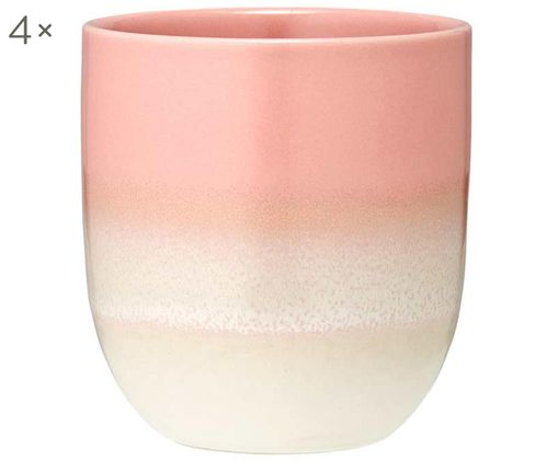 Becher Café, 4 Stück, Pink