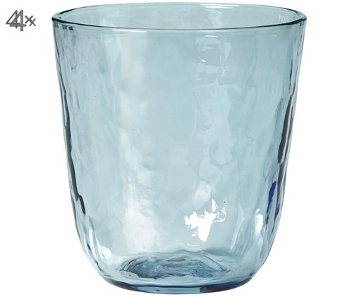 Vasos de agua soplados a mano Hammered, 4pzas., Azul, transparente