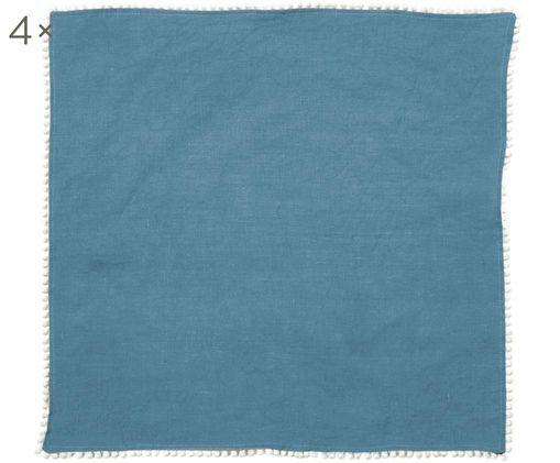 Tovaglioli in lino Pom Pom, 4 pz., Grigio bluastro