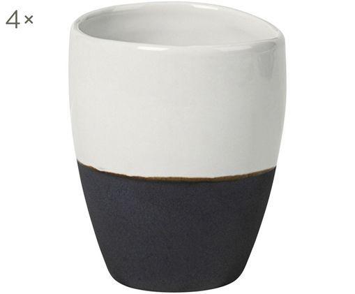 Handgefertigte Espressobecher Esrum, 4 Stück, Elfenbeinfarben, Graubraun
