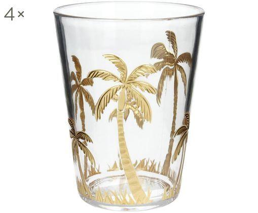 Bicchieri per l'acqua  in acrillico Kimberly, 4 pz., Trasparente, dorato