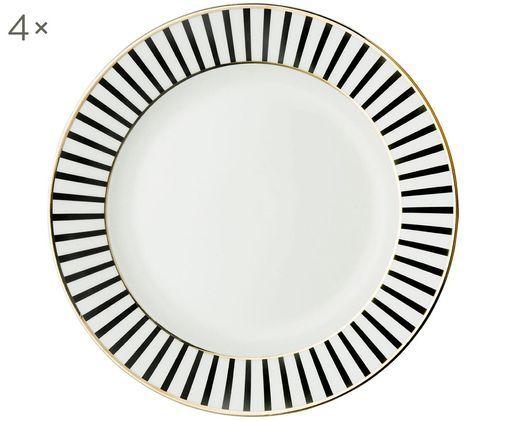 Assiettes plates Pluto Loft, 4pièces, Noir, blanc