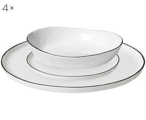 Handgefertigtes Geschirr-Set Salt, 12-tlg., Gebrochenes Weiß, Schwarz