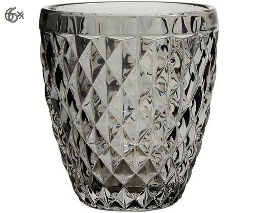 Bicchieri Diamond, 6 pz., Grigio scuro, leggermente trasparente