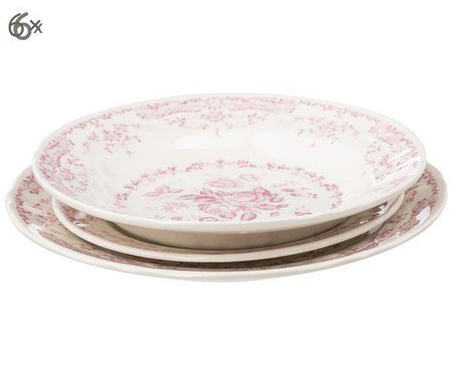 Serwis porcelanowy Rose, 18 elem., Biały, różowy