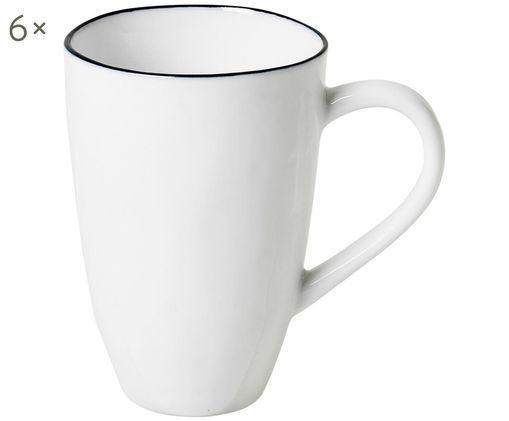 Handgefertigte Tassen Salt, 6 Stück, Gebrochenes Weiß, Schwarz