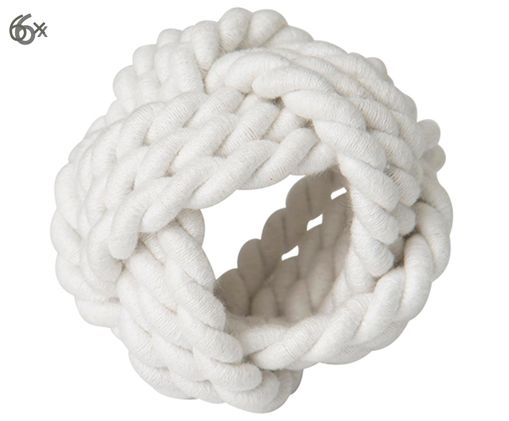 Serviettenringe Knot, 6 Stück, Weiß