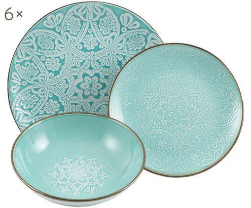 Komplet talerzy z porcelany Baku Mandala, 18elem., Turkusowy, złamana biel