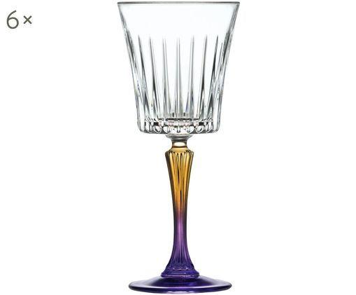 Bicchieri da vino bianco in cristallo  Gipsy, 6 pz., Trasparente, oro giallo, porpora