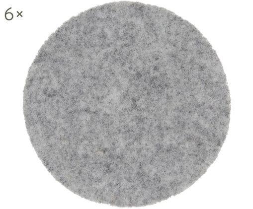 Sottobicchiere in feltro di lana Leandra, 6 pz., Grigio chiaro