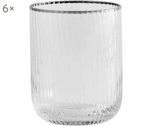 Wassergläser Rilly mit Rillenstruktur und Silberrand, 6er-Set, Transparent, Silberfarben