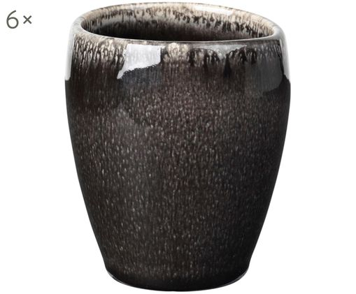 Tasses à espresso faites à la main Nordic Coal, 6pièces, Tons bruns