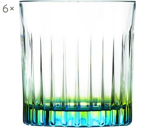 Verres à cocktailen cristalGipsy, 6pièces, Transparent, jaune-vert, turquoise