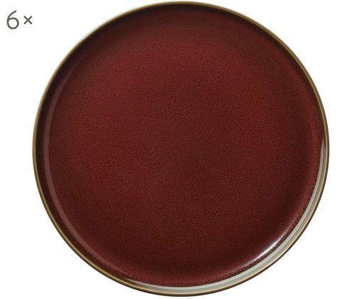 Piatto da colazione Kolibri, 6 pz., Rosso ruggine, marrone