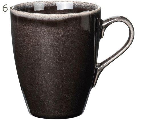 Handgefertigte Tassen Nordic Coal, 6 Stück, Bräunlich
