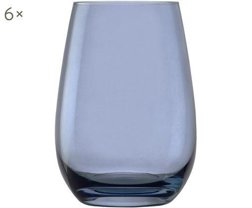 Kristall-Wassergläser Elements Clear in Blau, 6er-Set, Blaugrau