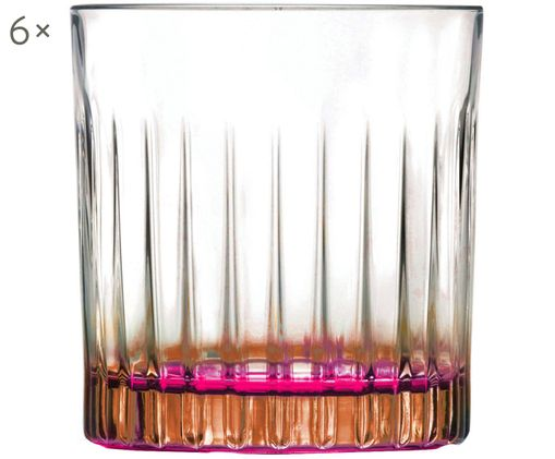 Bicchieri in cristallo  Gipsy, 6 pz., Trasparente, color rame, rosa