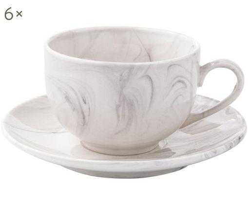 Set tazze Marla, 12 pz., Bianco, marmo