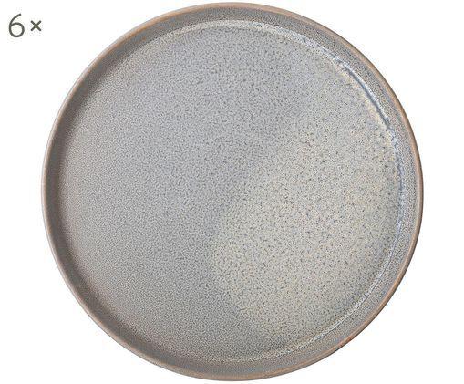 Piatto da colazione fatto a mano Kendra, 6 pz., Grigio, tonalità beige
