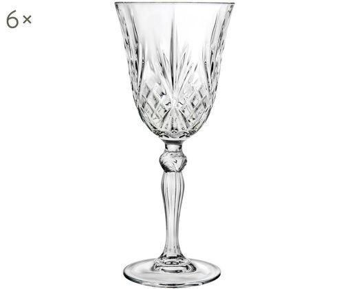 Kristall-Weißweingläser Melodia mit Reliefmuster, 6er-Set, Transparent