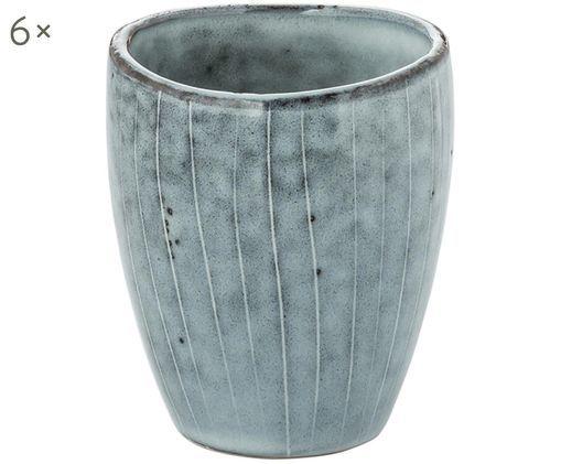 Tazas de café artesanales Nordic Sea, 6uds., Tonos grises y azules