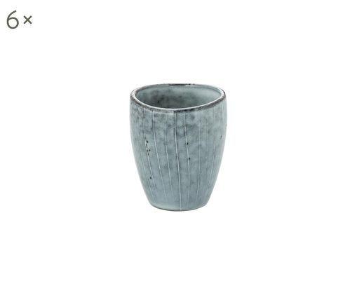 Tasses à espresso faites à la main Nordic Sea, 6pièces, Tons gris et bleus