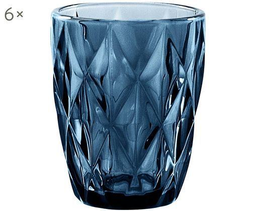 Vintage Wassergläser Diamond mit Strukturmuster, 6er-Set, Blau, leicht transparent