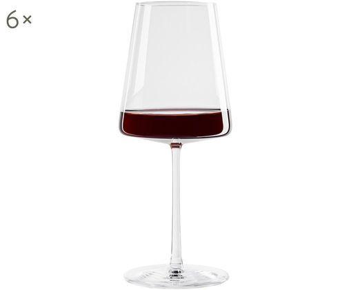 Kristall-Rotweingläser Power in Kegelform, 6er-Set, Transparent