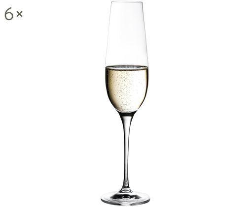 Sekt- und Champagnergläser Harmony aus glattem Kristallglas, 6er-Set, Transparent