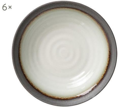 Piatto fondo Sano, 6 pz., Grigio chiaro, bianco latte