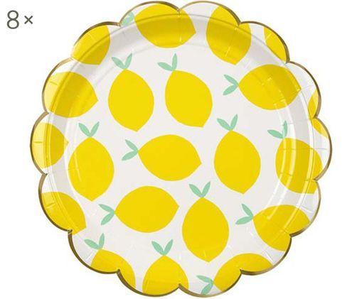 Piatto di carta Lemon, 8 pz., Bianco, giallo, verde