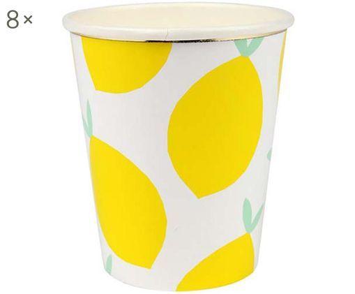 Tazza senza manico di carta Lemon, 8 pz., Bianco, giallo, verde