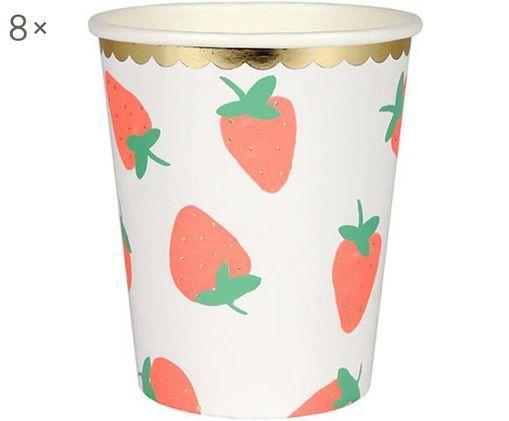Tazza senza manico di carta Strawberry, 8 pz., Bianco, rosa, verde
