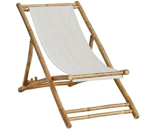 Bambus-Liegestuhl Mandisa, Gestell: Bambus Bespannung: Offwhite