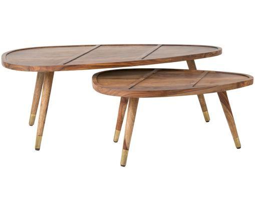 Couchtisch 2er-Set Sham aus Sheeshamholz, Tischplatte und Beine oben: Sheeshamholz Beine unten: Goldfarben