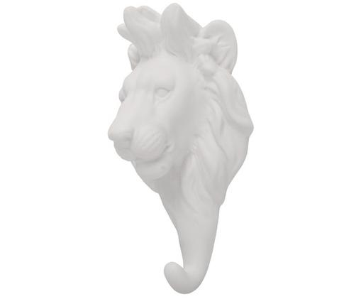 Wandhaken Lion aus Porzellan, Weiß