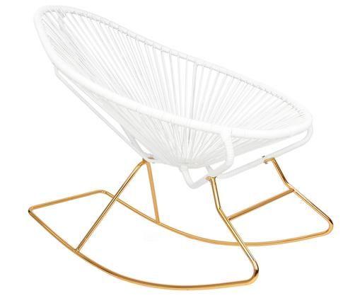 Moderner Schaukelstuhl Grace in Weiß, Gestell: Goldfarben, Geflecht: Weiß