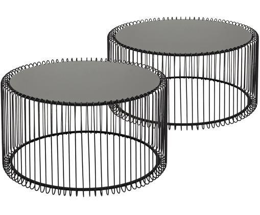 Set de mesas de centroWire con tablero de vidrio, 2uds., Negro