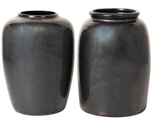 Jarrones decorativos Rim & Curve, 2uds., Negro metalizado, pintado