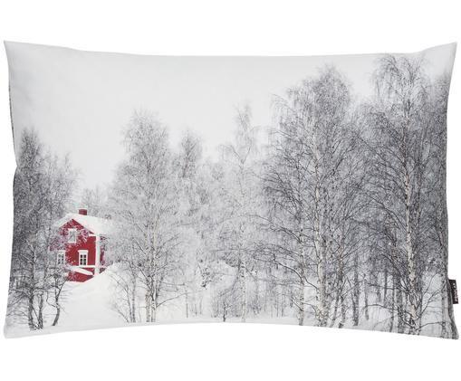 Kissenhülle Arhus mit winterlichem Motiv, Vorder- und Rückseite: Weiß, Schwarz, Rot