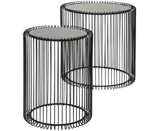 Metall-Couchtisch 2er-Set Wire mit Glasplatte, Schwarz