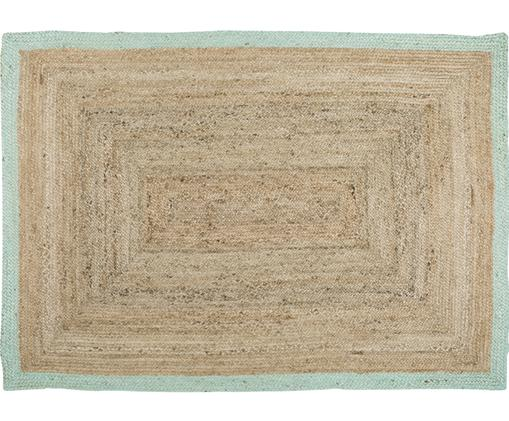 Alfombra artesanal de yute Shanta, Yute, verde menta
