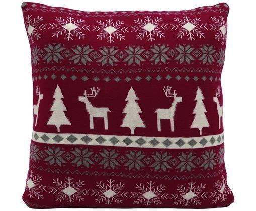Strick-Kissenhülle David mit winterlichem Muster, Dunkelrot, Cremeweiß, Grau